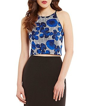 Belle Badgley Mischka Liliana Jacquard Sleeveless Crop Top