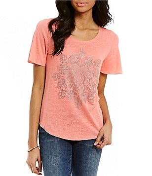 Lucky Brand Scoop Neck Short Sleeve Studded Lotus Tee