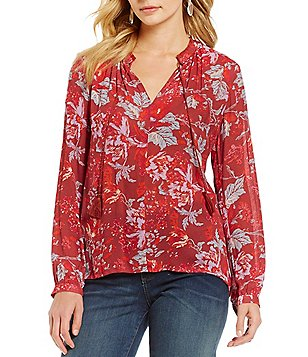 Lucky Brand Long Sleeve Floral Print Peasant Blouse