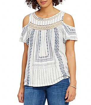 Lucky Brand Cold-Shoulder Crochet Knit Top