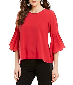 Belle Badgley Mischka Linda Round Neck Elbow-Bell Sleeve Hi-Low Top