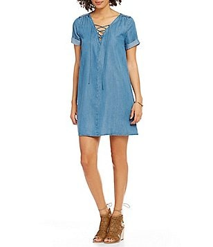 Lucky Brand Denim Short Sleeve Swing Dress