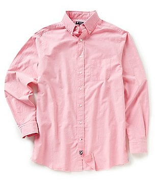 Cremieux Big & Tall Lightweight Washed Solid Oxford Long-Sleeve Woven Shirt