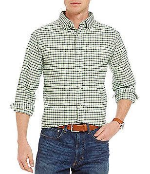 Cremieux Big & Tall Lightweight Washed Check Oxford Long-Sleeve Woven Shirt