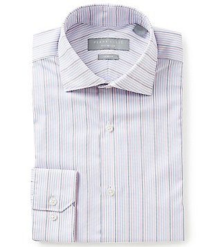 Perry Ellis Non-Iron Slim-Fit Spread-Collar Stripe Dress Shirt