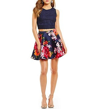 Midnight Doll Solid Lace to Floral Two-Piece Fit-and-Flare Dress