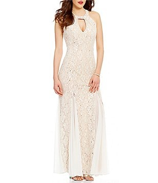 Jump High-Neck Bead Draped Back Pattern Lace High Neck Long Dress
