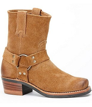 Frye Harness 8R Short Suede Brass Harness Pull-On Boots
