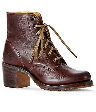 Frye Sabrina 6G Lace Up Block Heel Montana Leather Short Boots