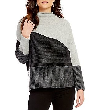 French Connection Patchwork Tonal Mock Neck Sweater
