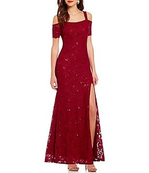 Jump Cold-Shoulder Long Sequin Lace Dress