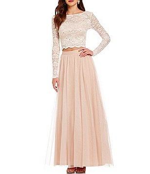 Jump Long Sleeve Lace Top Glitter Mesh Skirt Two-Piece Long Dress