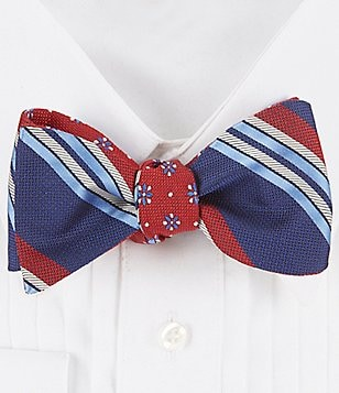 Brooks Brothers Reversible Textured Stripe and Flower Silk Bow Tie