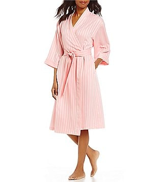 Cabernet Shadow-Striped Satin Wrap Robe