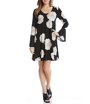 Karen Kane Long Bell Sleeve Scoop Neck A-Line Taylor Dress