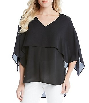 Karen Kane V-Neck Double Layer Elbow-Sleeve Silky Crepe Blouse