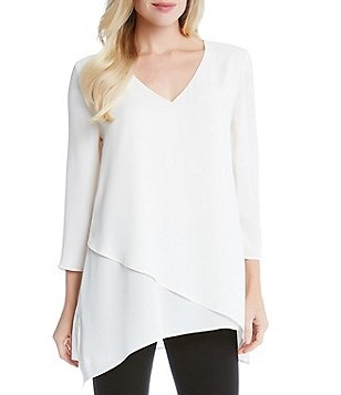 Karen Kane Layered Wrap Front V-Neck 3/4 Sleeve Asymmetrical Hem Tunic