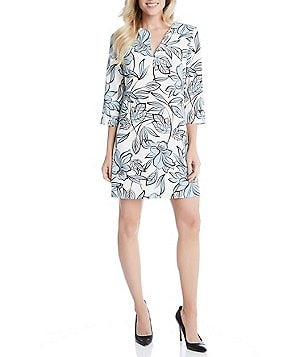 Karen Kane Floral Split V-Neck 3/4 Sleeve Shift Dress