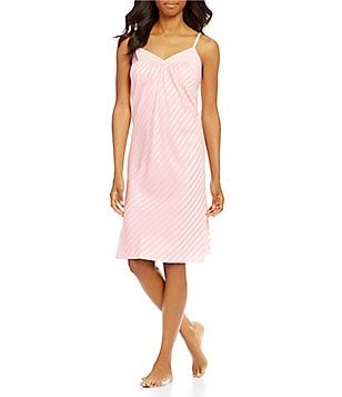 Cabernet Shadow-Striped Satin Chemise