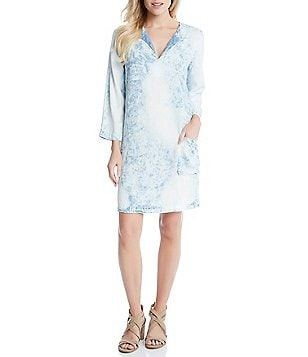 Karen Kane Split V-Neck 3/4 Sleeve Acid Wash Shift Dress