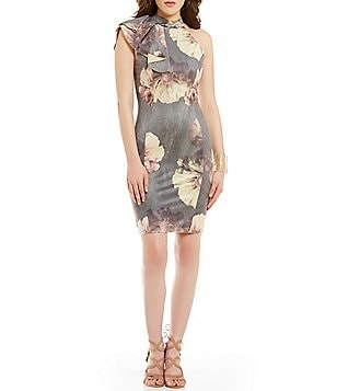 Mystic Floral Mockneck Ruffle-Sleeve Sheath Dress