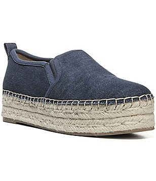 Sam Edelman Carrin Denim Fabric Platform Slip On Espadrilles