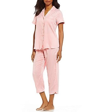 Cabernet Shadow-Striped Satin Pajamas