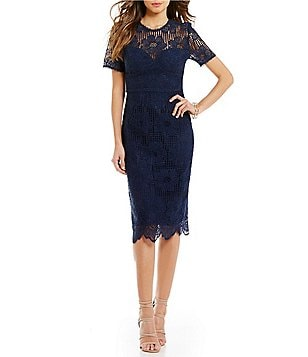 Trina Turk Oceano Lace Illusion Neck Scalloped Hem Dress