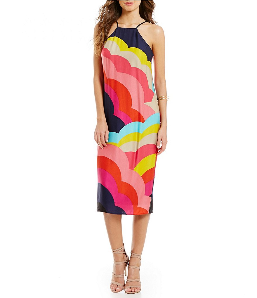 Trina Turk Vina Sleeveless High Neck Sheath Dress