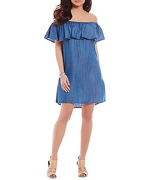 CATHERINE Catherine Malandrino Candy Off-the-Shoulder Chambray Dress