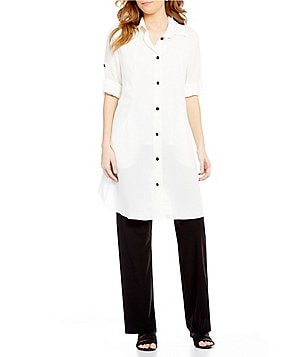 IC Collection Long Roll-Tab Sleeve Button-Front Long Blouse