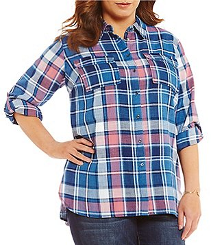 Vince Camuto Plus Point Collar Long Sleeve Plaid Button Down Top