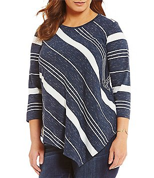 Vince Camuto Plus Round Neck 3/4 Sleeve Asymmetrical Striped Top