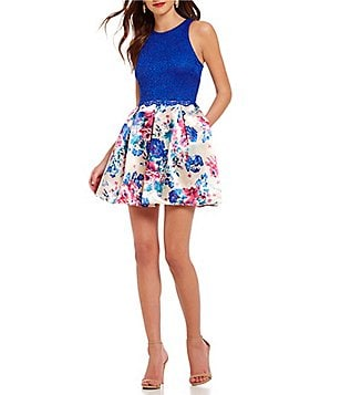 Teeze Me High Neck Lace Bodice Floral-Print Skater Dress