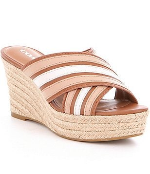 COACH FLORENTINE CRISS CROSS SEMI-MATTE LEATHER SLIP-ON ESPADRILLE WEDGE
