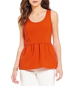 Trina Turk Wov Judah Sleeveless Solid Peplum Top
