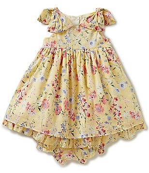 Laura Ashley London Baby Girls 12-24 Months Floral-Print Ruffle-Hem Bow A-Line Dress