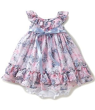 Laura Ashley London Baby Girls 12-24 Months Floral-Printed Bow Ruffled A-Line Dress