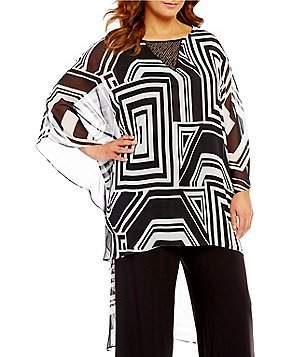 IC Collection Plus Round Neck 3/4 Sleeve Printed Pocho Tunic