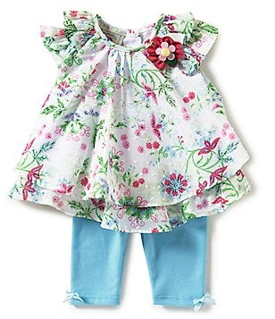 Marmellata Baby Girls Newborn-24 Months Floral Ruffled Top & Leggings Set