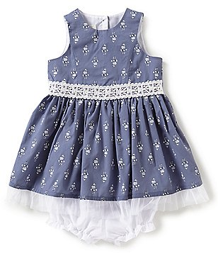 Marmellata Baby Girls 12-24 Months Crochet Mesh-Hem Dress