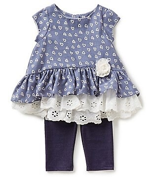 Pippa & Julie Baby Girls 12-24 Months Heart-Print Lace-Hem Top & Leggings Set