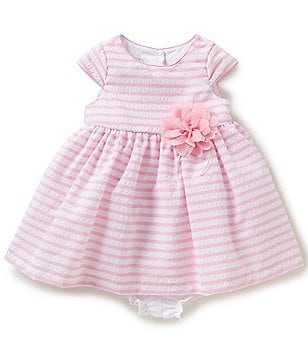 Marmellata Baby Girls 12-24 Months Striped Floral-Appliqué A-Line Dress