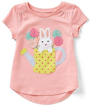 Adventure Wear by Copper Key Little Girls 2T-4T Bunny High-Low Appliqué Tee