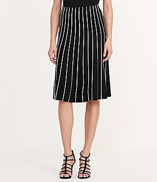Lauren Ralph Lauren Contrast Piping Printed A-Line Skirt