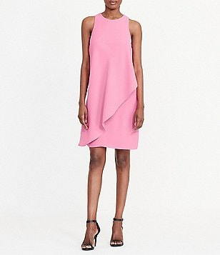 Lauren Ralph Lauren Round Neck Sleeveless Front-Overlay Crepe Shift Dress