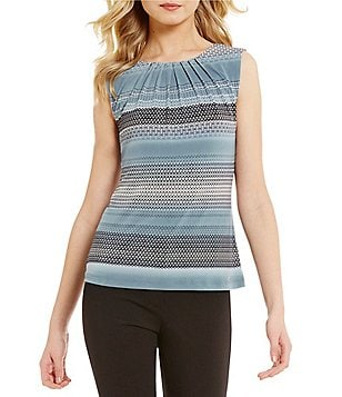 Calvin Klein Pleat Neck Geometric Engineered Stripe Matte Jersey Shell