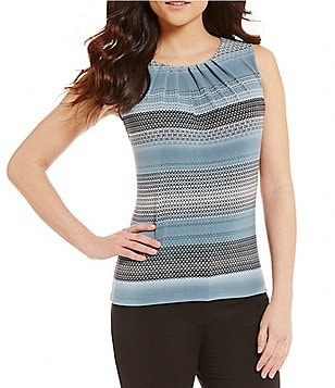 Calvin Klein Petites Pleat Neck Geometric Engineered Stripe Matte Jersey Shell