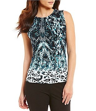 Calvin Klein Pleat Neck Sleeveless Snakeskin Border Print Matte Jersey Shell