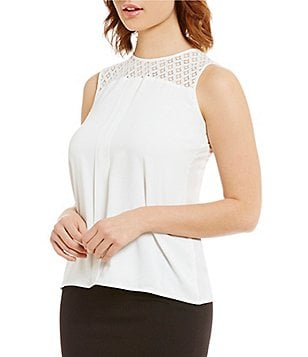 Calvin Klein Petites Lace Yoke Pleated Front Sleeveless Shelll